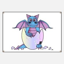 Cute Baby Dragon in Cracked Egg Blue and Purple Ba