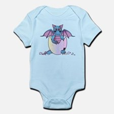 Cute Baby Dragon in Cracked Egg Blue and Purple Bo