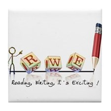 Reading, Writing, It's Exciting logo Tile Coaster