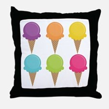 Colorful Waffle Cones Throw Pillow