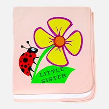Little Sister lady Bug Flower baby blanket