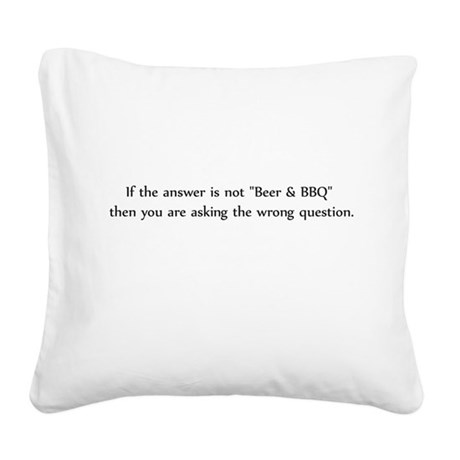 Beer and BBQ Square Canvas Pillow