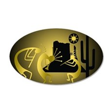 Kokopelli Desert in Gold 35x21 Oval Wall Decal