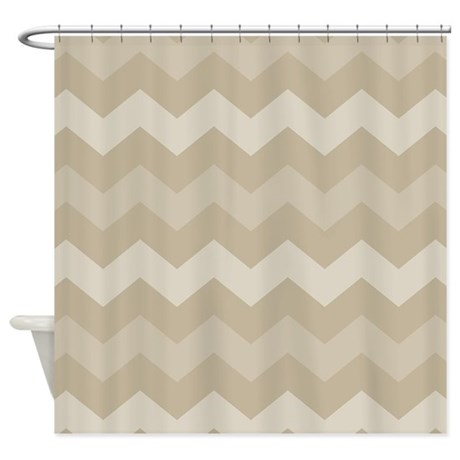 Chevron Tan Zigzag Striped Shower Curtain By MainstreetHomewares