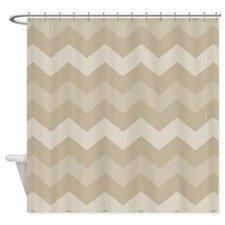 Chevron Tan Zigzag Striped Shower Curtain