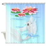 Shower Curtain Silver Koi-Pink and Pink Lilies