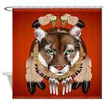 Queen Duvet Cougar Shield Shower Curtain