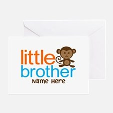 Personalized Monkey Little Brother Greeting Card