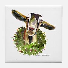 Christmas Goat Tile Coaster