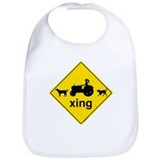 Caution Farm Girl Crossing Bib