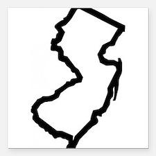 "Jersey Outline Square Car Magnet 3"" x 3"""