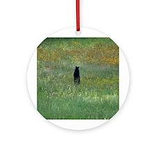 Black bear standing Ornament (Round)