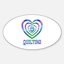 Quilting Hearts Sticker (Oval)