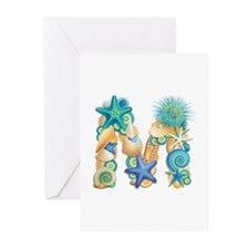 Beach Theme Initial M Greeting Cards (Pk of 10)