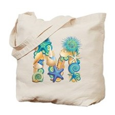 Beach Theme Initial M Tote Bag