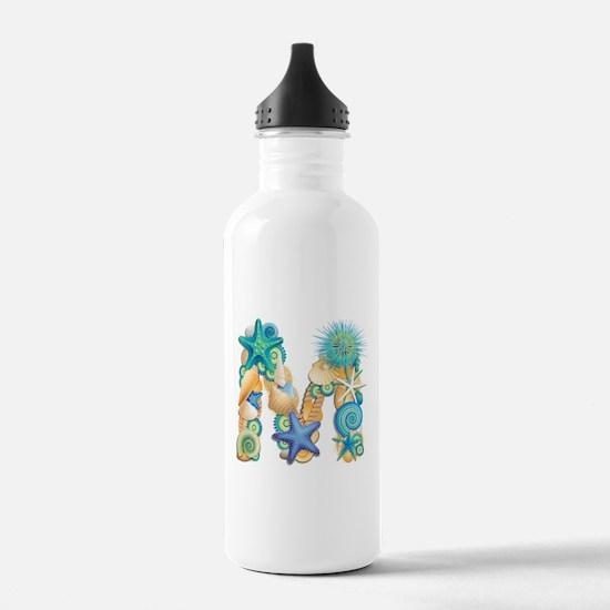 Beach Theme Initial M Water Bottle