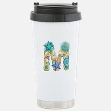 Beach Theme Initial M Travel Mug