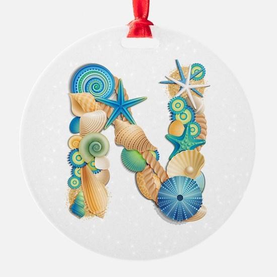Beach Theme Initial N Ornament