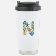 Beach Theme Initial N Travel Mug