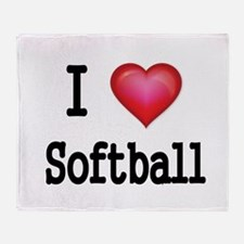 I LOVE SOFTBALL 4 Throw Blanket