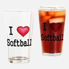 I LOVE SOFTBALL 4 Drinking Glass