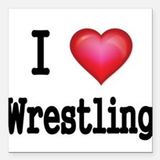 "I LOVE WRESTLING Square Car Magnet 3"" x 3"""