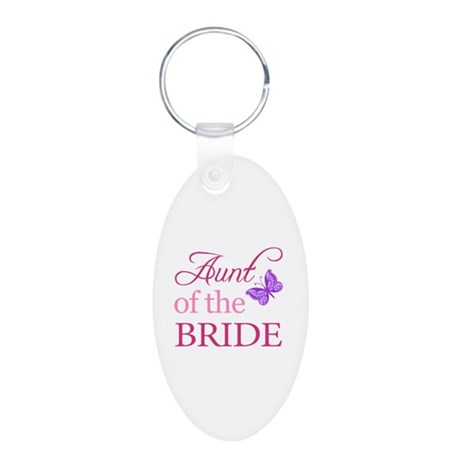 Aunt Of The Bride (Butterfly) Aluminum Oval Keycha
