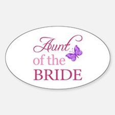 Aunt Of The Bride (Butterfly) Sticker (Oval)