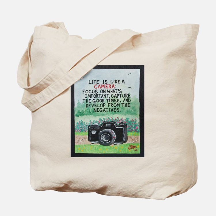 """"""" LIFE is like a Camera """" / Sculpted Art Tote Bag"""