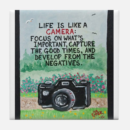 """ LIFE is like a Camera "" / Sculpted Art Tile Coas"