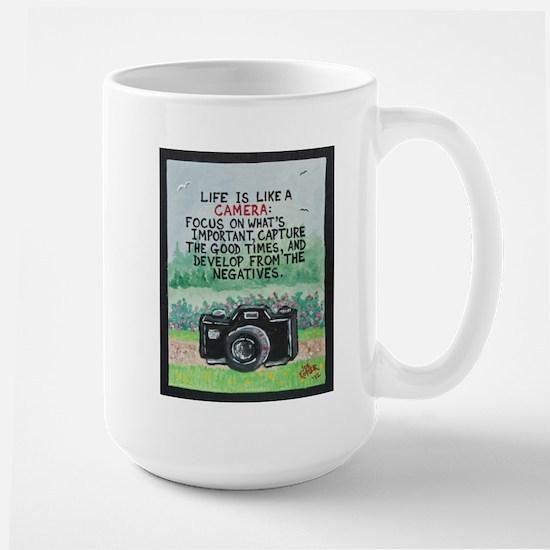 """ LIFE is like a Camera "" / Sculpted Art Mug"