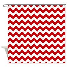 Red And White Chevron Pattern Shower Curtain