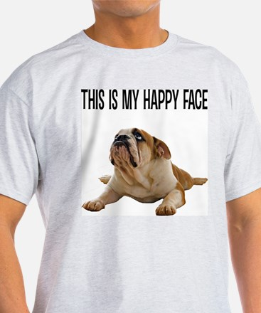 FIN-happy-face-bulldog-CROP T-Shirt