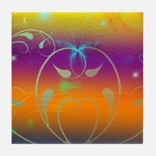 Butterflies and Cosmos Tile Coaster