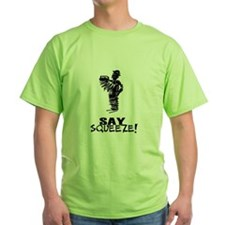 Say Squeeze scribbled design accordion player T-Sh