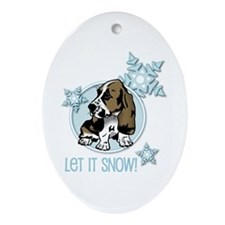 Let it Snow Basset Oval Ornament