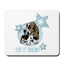 Let it Snow Basset Mousepad