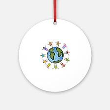 peace love multicultural children Ornament (Round)