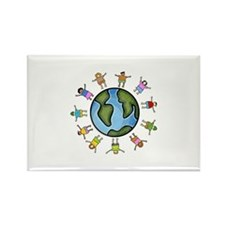 peace love multicultural children Rectangle Magnet