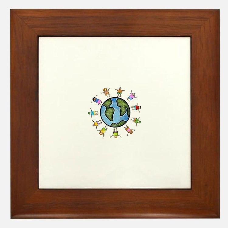 peace love multicultural children Framed Tile