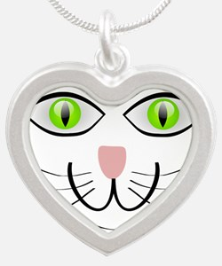 Green-Eyed Cat Face Necklaces