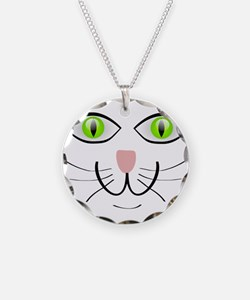 Green-Eyed Cat Face Necklace