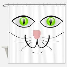 Green-Eyed Cat Face Shower Curtain