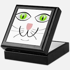 Green-Eyed Cat Face Keepsake Box