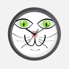 Green-Eyed Cat Face Wall Clock