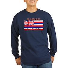 Hawaii Hawaiian Flag Long Sleeve Blue T-Shirt
