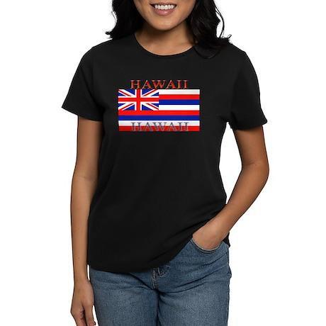 Hawaii Hawaiian State Flag Women's Black T-Shirt
