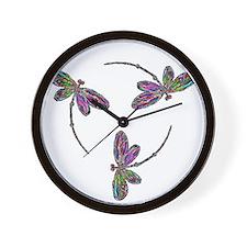 Neon Dragonfly Trinity Wall Clock