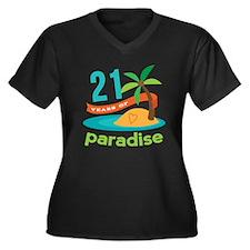 21st Anniversary (Paradise) Women's Plus Size V-Ne