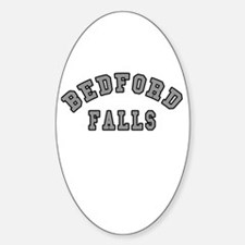 Bedford Falls Grey Lettering Oval Decal